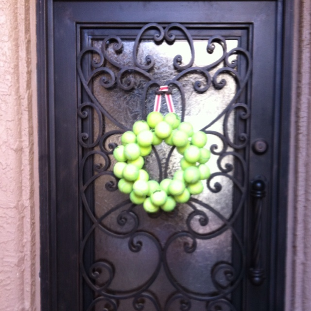 Yes I did!  A tennis ball wreath!
