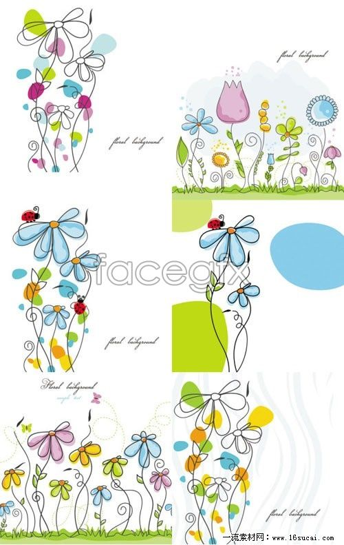 Free download 6 cartoon flower line on behalf of vector. Line artwork, hand-painting, vector material. Category: Vector cartoon. File Sie: 1.89 MB