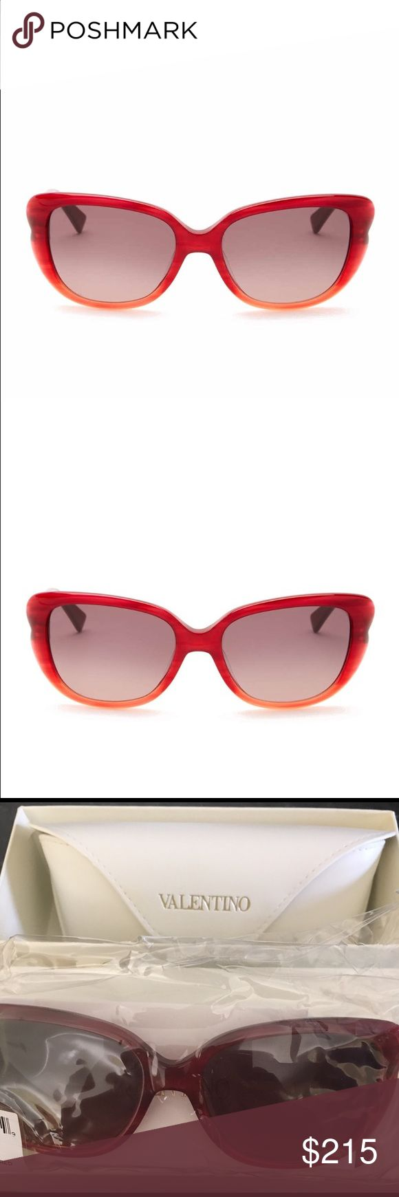 Valentino Women's Cat Eye Sunglasses Valentino Women's Cat Eye Sunglasses.  NWT.  Gorgeous pair of glasses.  Measurement: 54-17135mm (eye-bridge-temple). Frame color:  red/orange.  Lens color: smoke.  Frame material:  acetate.  Lens type:  plastic.  100% UV protection.  Case included.  Made in Italy. Valentino Accessories Glasses