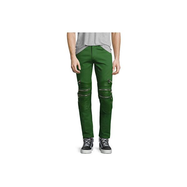 God's Masterful Children Vibrante Skinny Moto Jeans ($325) ❤ liked on Polyvore featuring men's fashion, men's clothing, men's jeans, green, mens green jeans, mens super skinny jeans, mens zipper jeans, mens fitted jeans and mens button fly jeans
