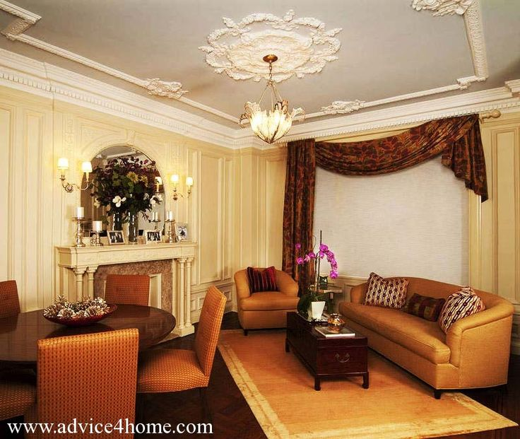 white ceiling design with pop and cream wall and brown sofa design in living room