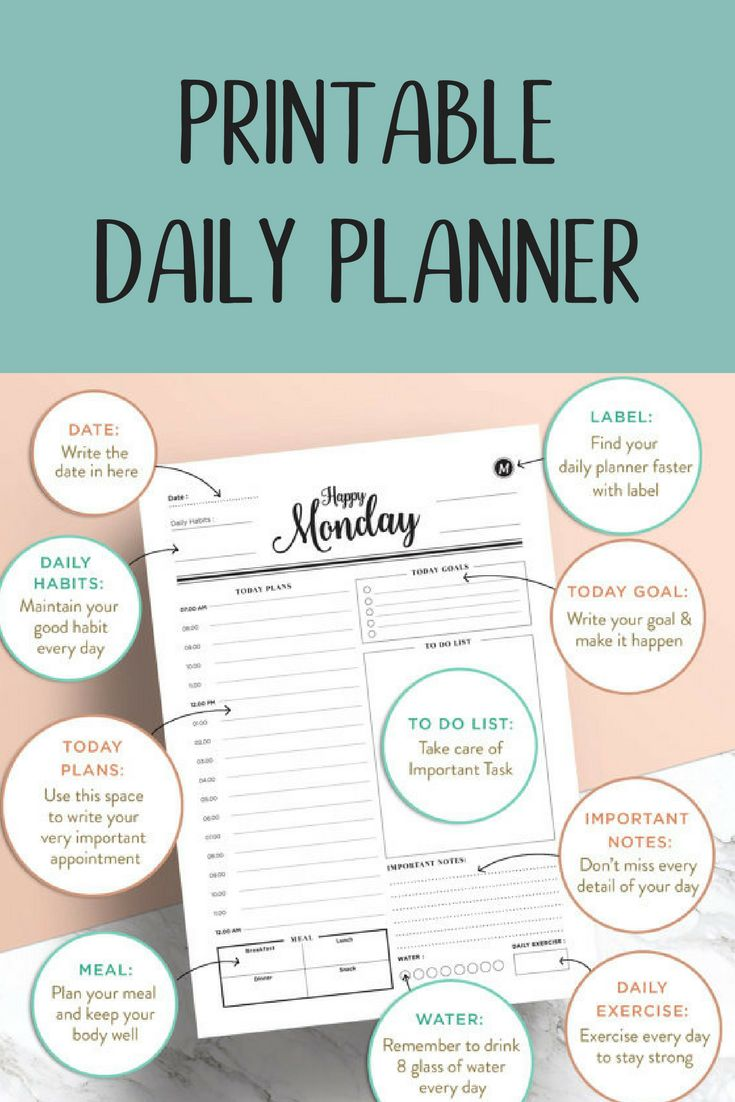 What an adorable Daily Planner! Spaces to track your daily plans, to do list, important notes, daily habit and goals.  Day Planner–Productivity Planner–Work Planner–A4&A5 planner insert,US Letter Planner Insert–Printable Planner–Instant Download #plannerlove #printableplanner #ad