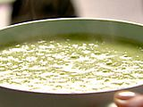 """Nigella's """"Slime Soup""""...actually a soup made of peas, scallions, and mozzarella.  It's """"for kids"""" but it's actually really delicious, easy, and healthy."""
