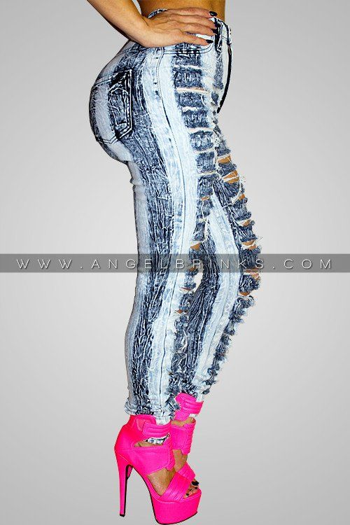 Striped Washed Ripped Jeans | Shop Boutique on Angel Brinks