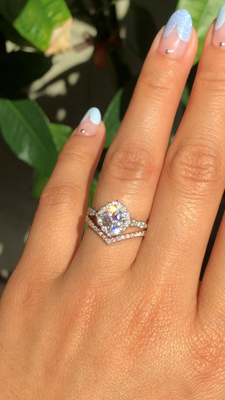 Mini Vintage Floral Moissanite Ring+ Chevron Diamond Wedding Band by La More Design