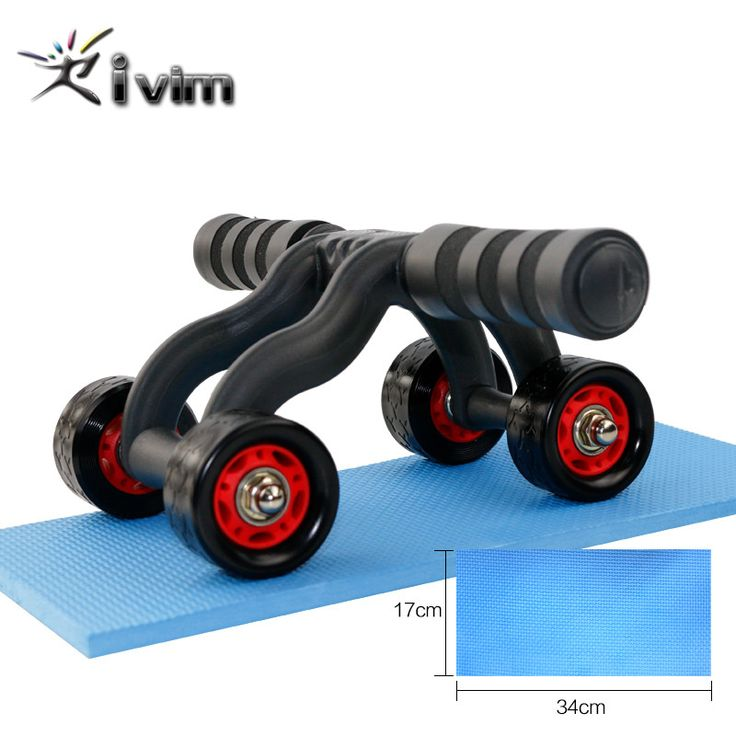 4 Wheels Power Wheel Triple AB Roller Abs Abdominal Workout Fitness Machine Gym Knee Pad