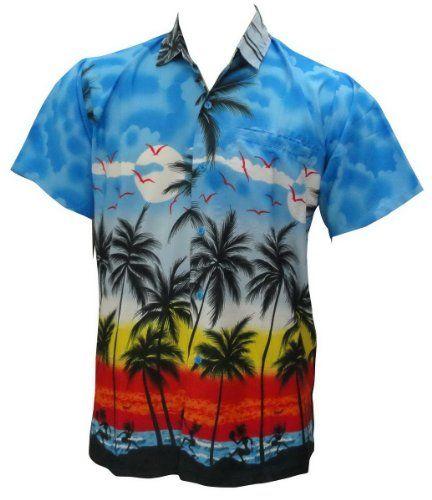 Black Friday La Leela Light Blue Palm Tree Aloha Hawaiian Shirt for Men XL from La Leela Cyber Monday