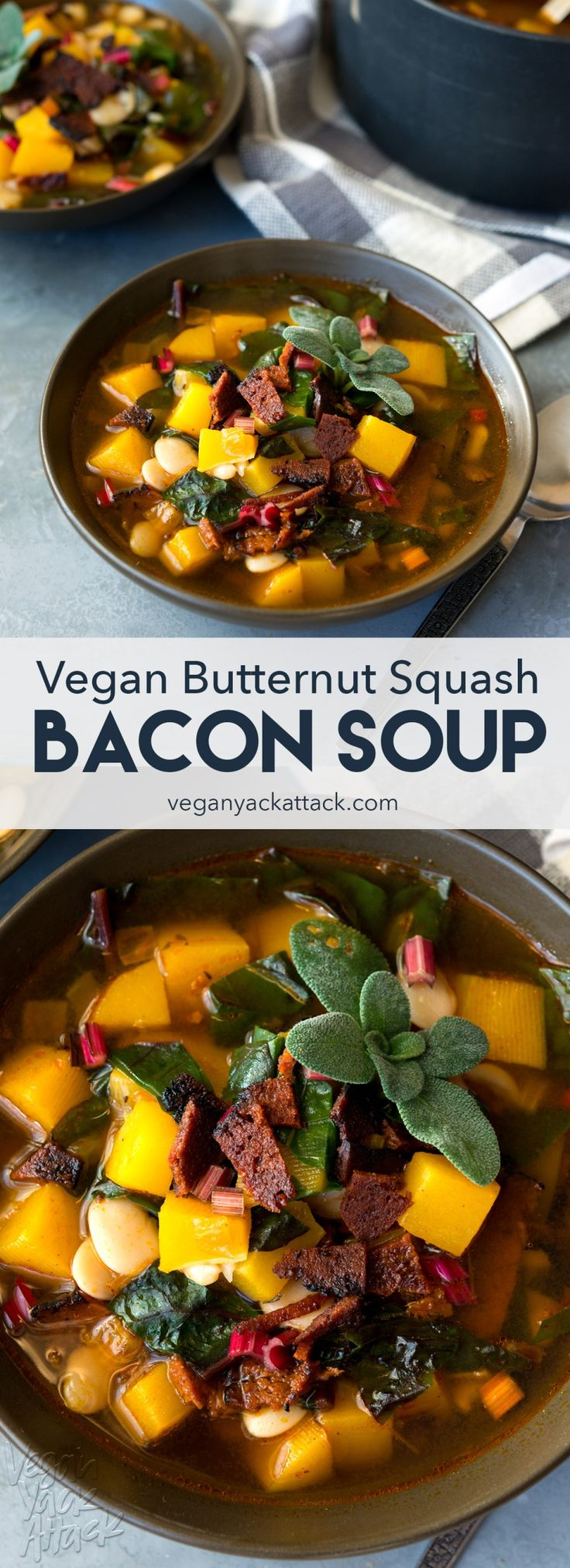 Butternut Squash Bacon Soup - Warm, comforting, smoky and VEGAN, made with 10 ingredients! #vegan #vegetarian #spon #SweetEarth