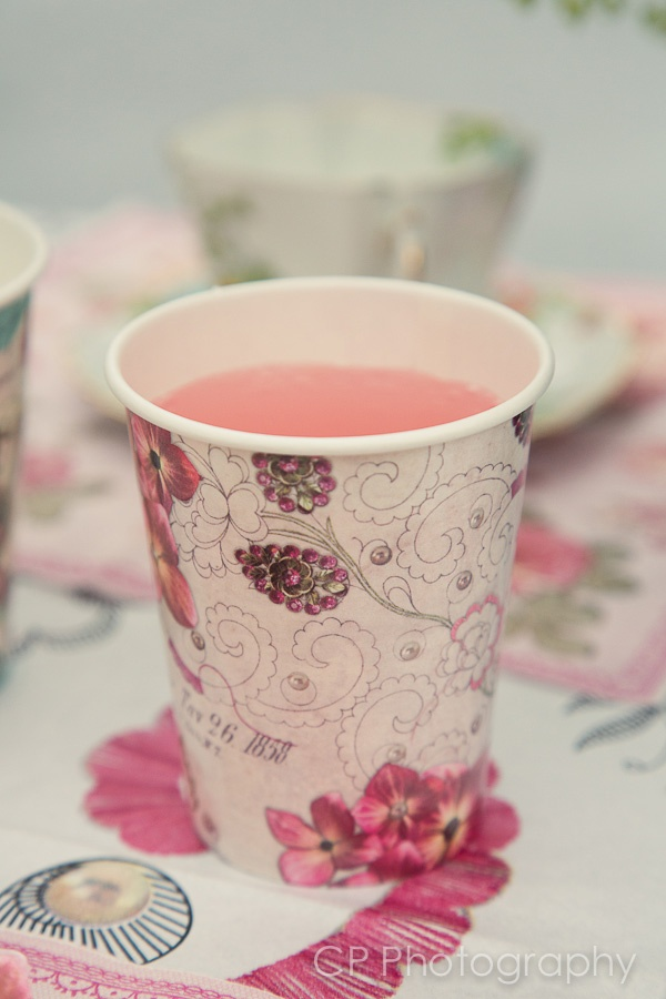 Pink lemonade in vintage cups, order a pack of 12 cups for £3.99 at www.fuschiadesigns.co.uk.