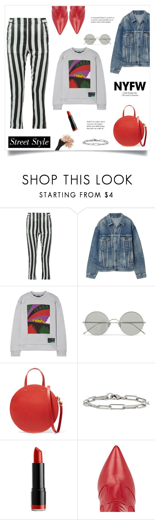 """""""Street Style!"""" by diane1234 on Polyvore featuring Ann Demeulemeester, Balenciaga, Prada, Sunday Somewhere, Clare V., Isabel Marant, NYX, Fendi, contestentry and trendreport"""