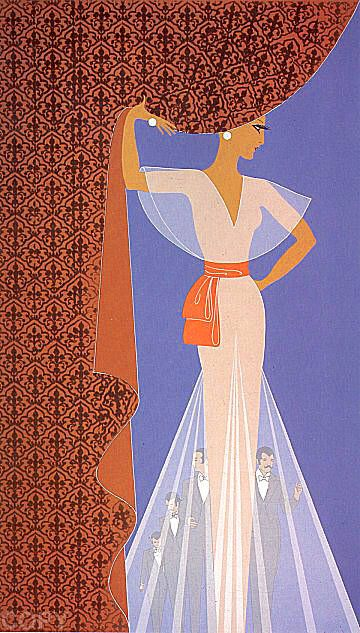 Erte's artwork titled The Curtain presented by Artophile