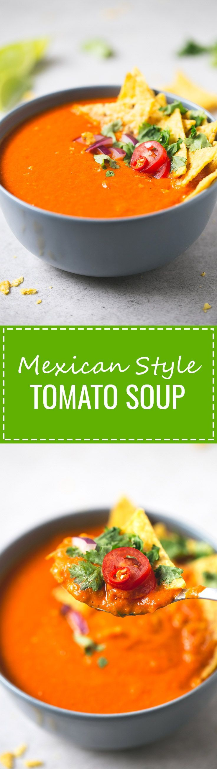Mexican Style Tomato Soup - This Mexican-style tomato soup is perfect if you want a healthy, warm, comforting meal and just have 15 or 20 minutes to cook.