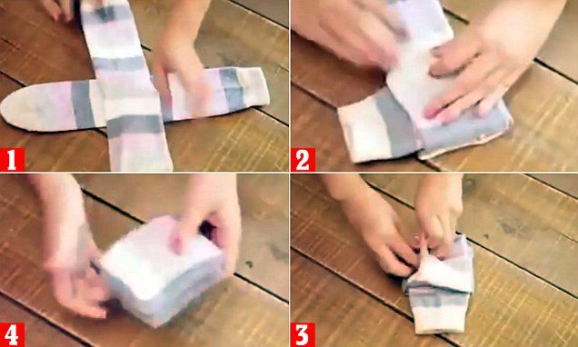 revolutionise untidy sock drawers by showcasing a clever method that uses a foolproof origami technique.