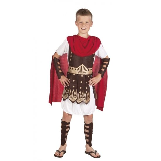 Dit Romeinse Gladiator kostuum voor kinderen is gemaakt van polyester en wordt geleverd met een tuniek met aangehechte cape en stoffen schild, armdelen en beendelen.