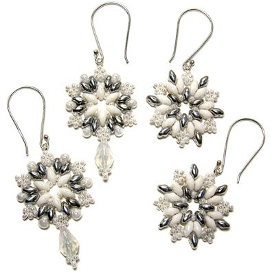 Beaded snowflake earrings (or pendant). Illustrated, step-by-step tutorial from aroundthebeadingtable.com.
