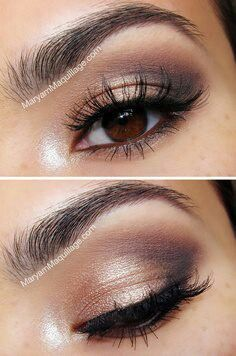 pretty eyes in warm metallic browns with stong outer socket line