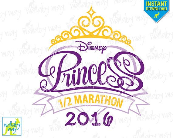 Disney Princess Half Marathon Printable Iron On Transfer or Use as Clip Art DIY Disney Princess Shirt Run Disney Instant Download 2016