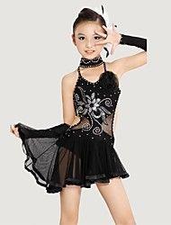 Latin dans Outfits Kinderen Prestatie Polyester / Lycra Kristallen / Bergkristallen / Bloem (en) Zwart / Geel Latin Dans / Uitvoering