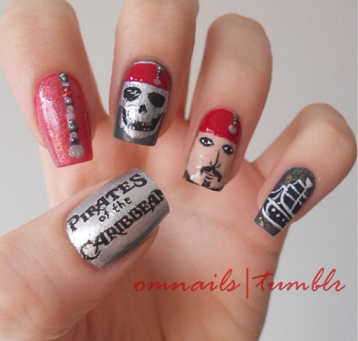pirate nail art..