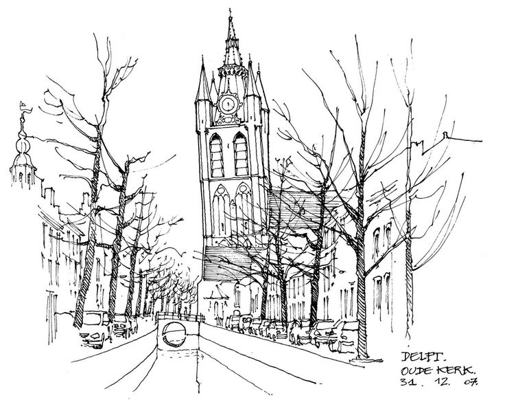 Kleurplaat Bas Delft Oude Kerk Kleurplaten