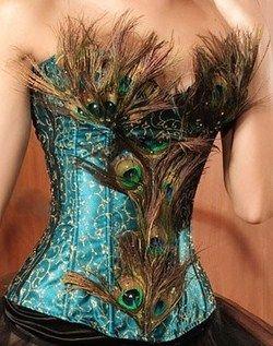 corset bleu et plumes