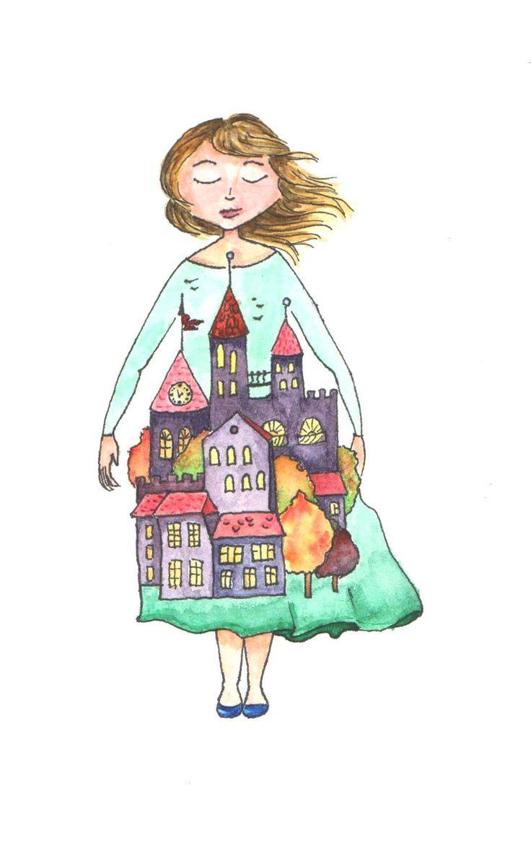 Artist Julia Futei. My little inner town /watercolor/
