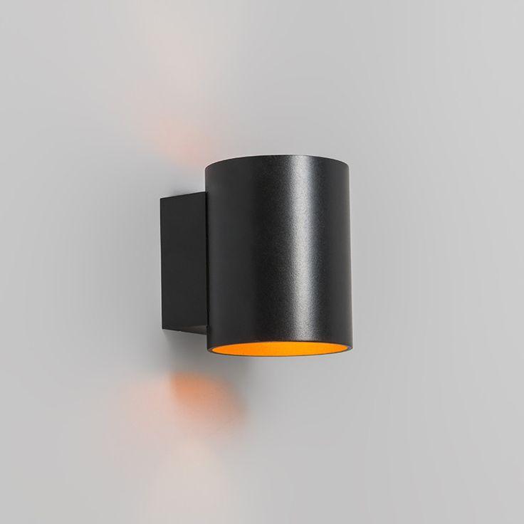 Wandlamp Sola rond zwart/goud €35