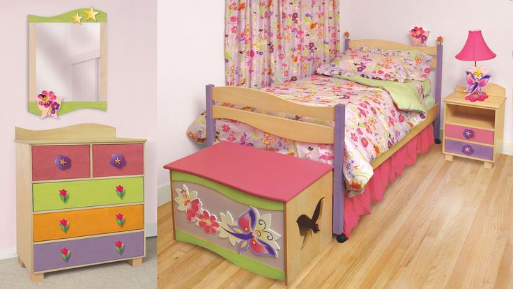 Cute Minimalist Bedroom Set For Toddler Girl Complete With Dresser, Bench And Side Bed Desk : The Cutest Toddler Girl Bedroom Sets with for Small Bedroom Remodel