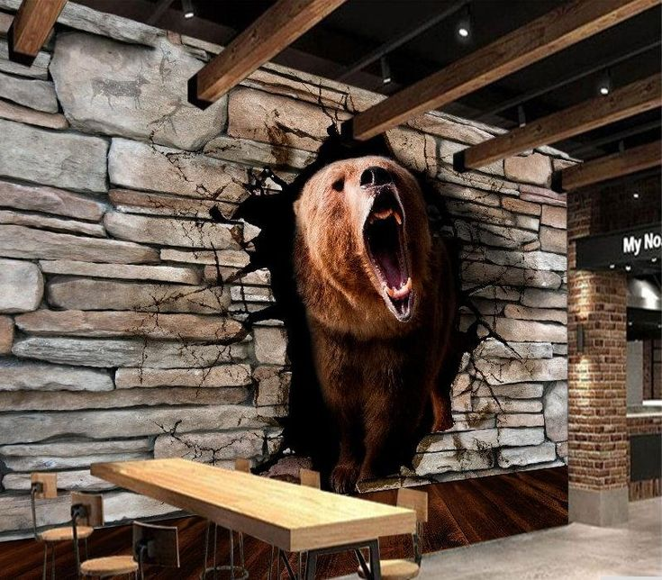 3D Brown Grizzly Bear Breaking Wall Wallpaper Mural for Home or Business