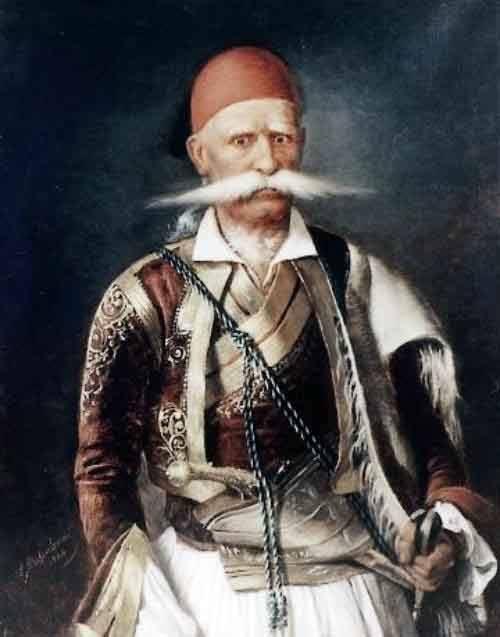 Ο Ιωάννης Δυοβουνιώτης (1757-1831).  Υπήρξε ένας από τους πρωταγωνιστές της ελληνικής νίκης στη μάχη των Βασιλικών. Αθήνα, Εθνικό Ιστορικό Μουσείο.