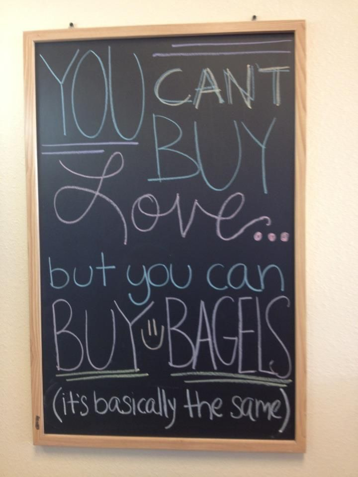 You Can't Buy Love... But You Can Buy Bagels (It's Basically The Same)! Come to Bagels and Bites Cafe in Brighton, MI for all of your bagel and coffee needs! Feel free to call (810) 220-2333 or visit our website www.bagelsandbites.com for more information!