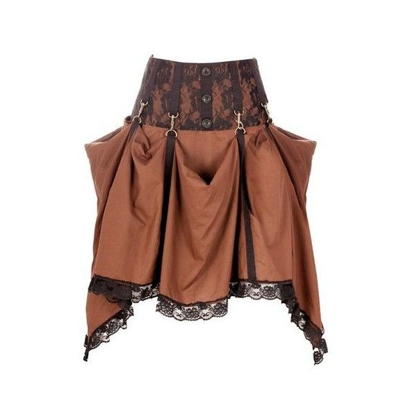 Long Brown Steampunk Skirt with Lace Trim ❤ liked on Polyvore featuring skirts, steampunk, brown knee length skirt, steam punk skirt, print skirt, long brown skirt and brown skirt