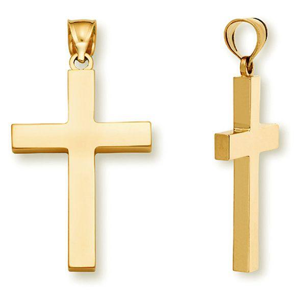10K Gold Polished Crucifix Cross Religious Pendant 30mm x 14mm