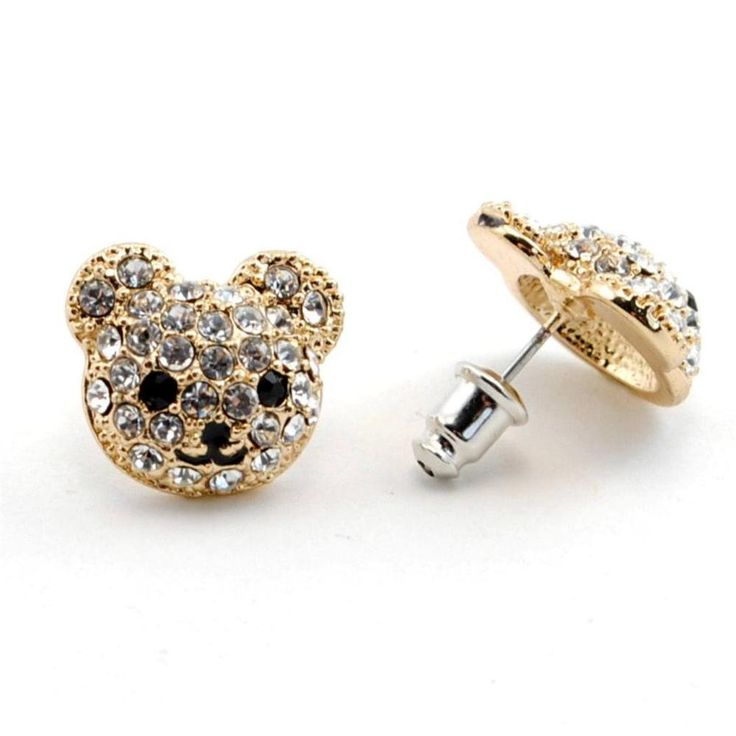 This playful pair of high quality earrings are well made with excellent details and feature sparkling rhinestone accents. MATERIAL : Gold Plate, Rhinestone Surgical Steel Post.