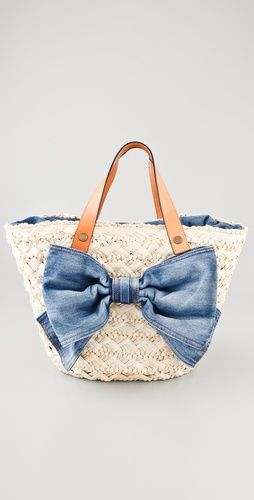 Red Valentino Straw Bow Tote.  Perfect for a trip to the Hamptons or Hawaii.  Love! & Want now to use all spring & summer long.