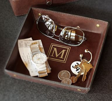 Saddle Leather Catchall #potterybarn. Great gift for the timeless male in your life!