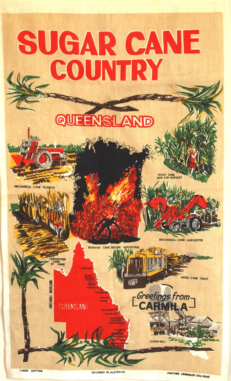 Queensland Sugar Cane Country Souvenir Tea Towel - 70s 80s Vintage Linen Cotton Bundaberg Tea Towel - New Old Stock by FunkyKoala on Etsy