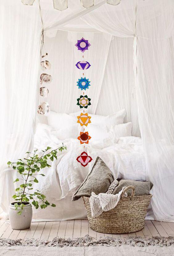 Set of 7 Chakras suncatcher yoga decor sacred geometry by Mownart