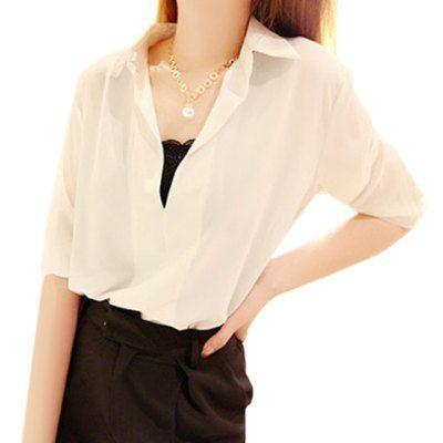 Plus Size V-Neck 3/4 Sleeve Women's Chiffon Blouse