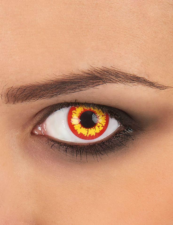 Estas lentes de contacto de color amarillo y rojo son perfectas para completar tu disfaz de demonio en tu fiesta de Halloween.
