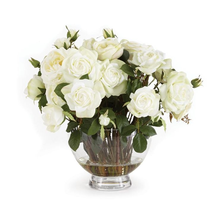 17.5'' Garden Rose Flower Arrangement in Clear Vase