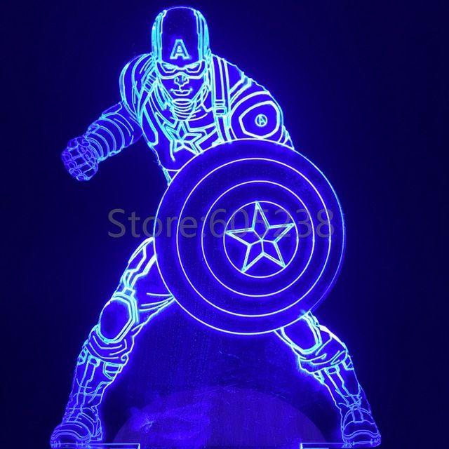 O envio gratuito de 1 peça Marvel guerra Civil do super herói capitão américa luz Handmade 3D Bulbing ilusão lâmpada LED Mood Light Kid presentes                                                                                                                                                                                 Mais