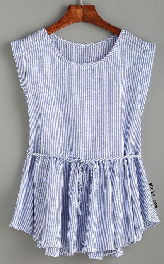 Blue Vertical Striped Self Tie Ruffle Hem Blouse