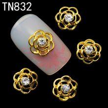 10 stücke Glitter goldene blume 3d Nail art Dekorationen, Legierung Nail Sticker Charme-schmucksachen für Nagellack Werkzeuge TN832(China (Mainland))