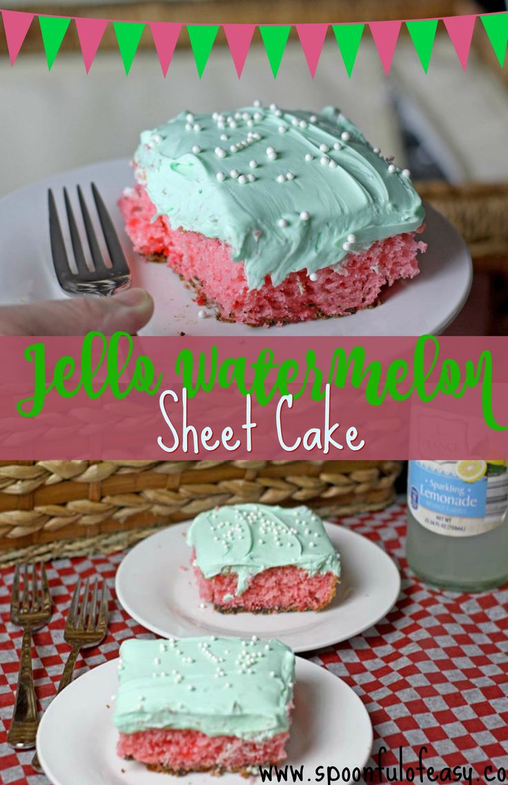 Jello Watermelon Sheet Cake is the perfect make and take to all your summer events. The best part? You just need one bowl! #onebowlcake #cake #watermelon #jello #jellocake #watermeloncake #sheetcake