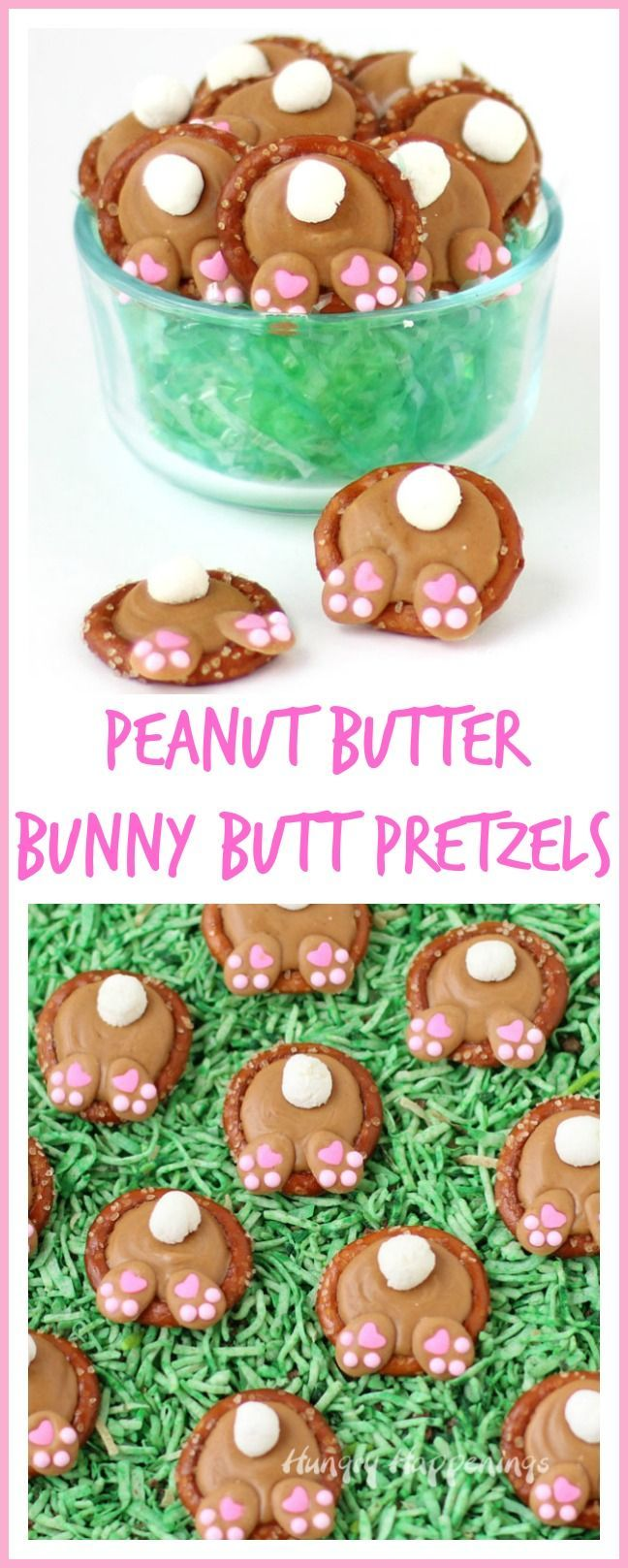 Peanut Butter Bunny Butt Pretzels make adorable additions to your Easter baskets.