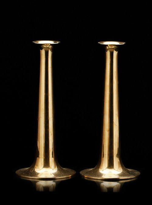 Pair of solid brass candel holders by Torben Ørskov & Co, Denmark, ca.1960s. Photo copyright by Scandinavian Collectors 2014.Tumblr