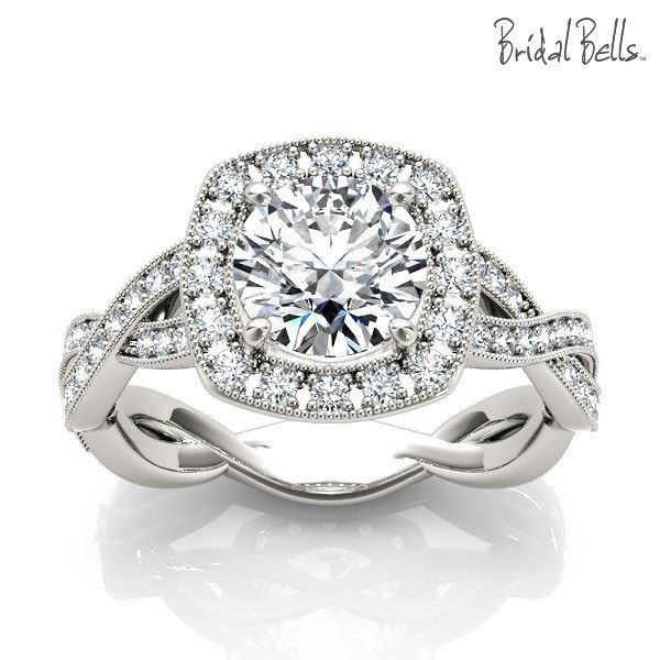 DIAMOND ENGAGEMENT RINGS - Cushion Halo 1.33cttw Diamond Engagement Ring With Crossed Shank