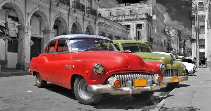 Colorful Havana cars panorama