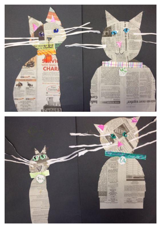 Katze aus Zeitungspapier basteln: